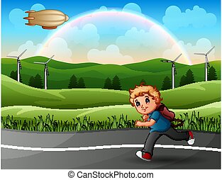 A boy is running to school