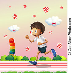 A boy jogging at the candyland