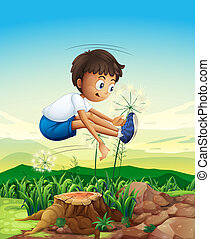 A boy jumping above the stump