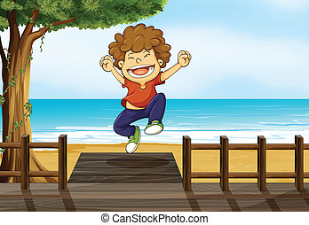 A boy jumping in the bridge