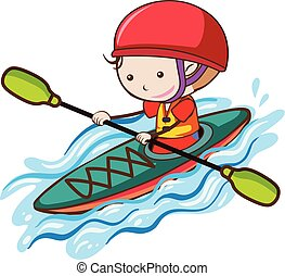 A Boy Kayaking on the river