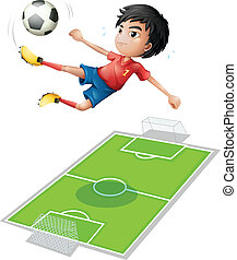A boy kicking the ball - Illustration of a boy kicking the...