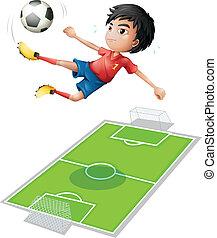 A boy kicking the ball - Illustration of a boy kicking the...