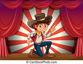 Illustration of a boy kneeling at the center of the stage