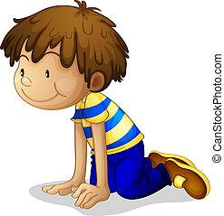 A boy kneeling - Illustration of a boy kneeling on a white...