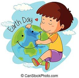 A boy love the earth
