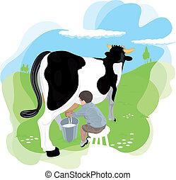 A boy milking a cow in the meadows of the farm school. It is...