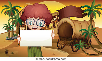 A boy near the wagon holding an empty signboard