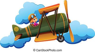 A boy on a plane - Illustration of a boy on a plane on a...