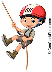 A boy on climbing rope