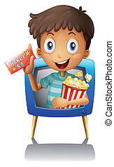 A boy on the television holding a ticket and a popcorn