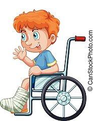 A boy on wheelchair