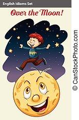 A boy over the moon