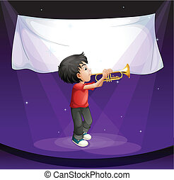 A boy performing at the stage with an empty banner