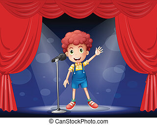 A boy performing on the stage