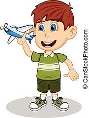 A boy playing airplane toy cartoon