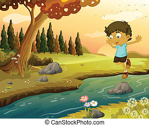 A boy playing at the flowing water