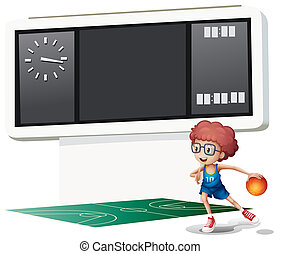 A boy playing basketball at the court
