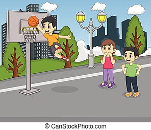 A boy playing basketball