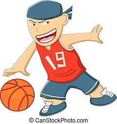 A boy playing basketball cartoon