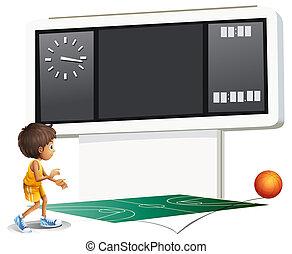 A boy playing basketball with a scoreboard
