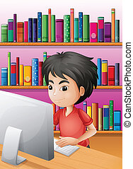A boy playing computer in front of the shelves with books