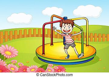 A boy playing