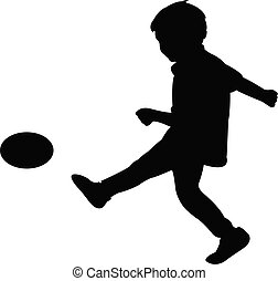a boy playing football, silhouette