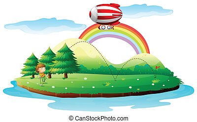 A boy playing golf and a blimp