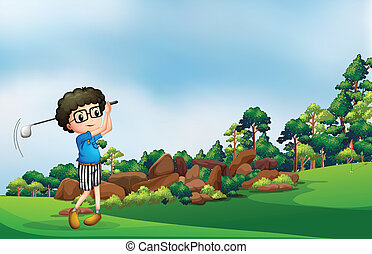 A boy playing golf at the forest