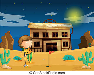a boy playing golf infront of house