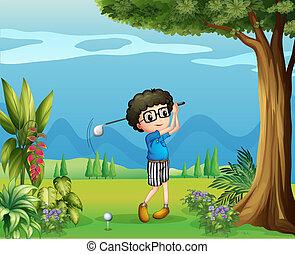A boy playing golf near the tree