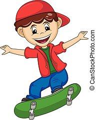 a boy playing skate board cartoon vector illustration