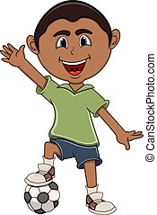 A boy playing soccer and wave his hand cartoon