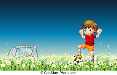 A boy playing soccer