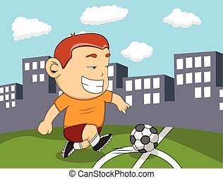 A boy playing soccer with city