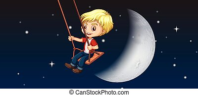 A boy playing swing sky background