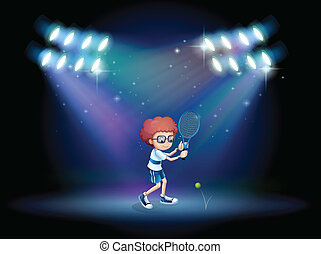 A boy playing tennis with spotlights