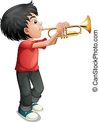 A boy playing with his trombone - Illustration of a boy...