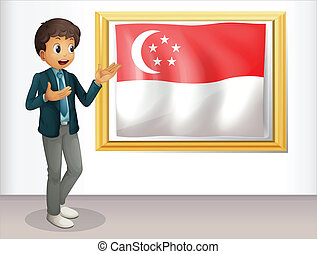 A boy pointing at the Singaporean flag