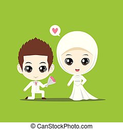 A boy propose a Muslim girl on green background