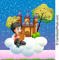 A boy reading a book in front of the floating castle