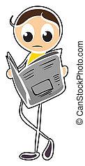 A boy reading newspaper