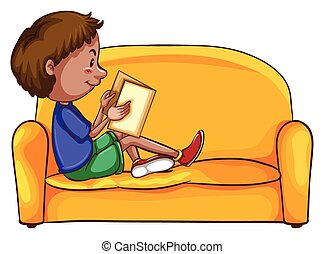 A boy reading while sitting down at the yellow sofa on a...