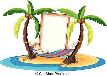 A Boy Resting Under Coconut Tree