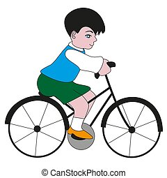 A boy riding a bike.
