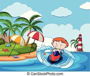 A Boy Riding Jetski on Holiday illustration