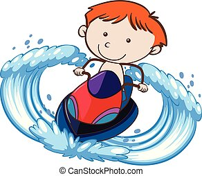 A Boy Riding Jetski on White Background