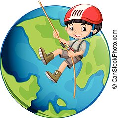 A Boy Rope Climbing on Earth