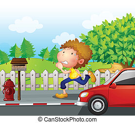 A boy running at the street with a mailbox